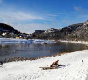 Ausblick im Winter Hotel Elbschlösschen