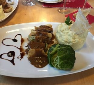 Valentinstags menü Hauptgang Hotel Scharnagl mit Waldgasthof