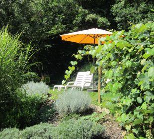 Gartenanlage mit Liegewiese Ferienwohnungen Theresienhof