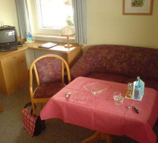 Sitzecke im Doppelzimmer Schwandenhof Ferienwohnungen