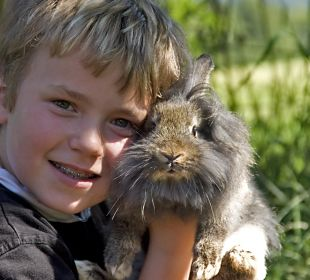 Kind mit Hase Kressenlehen FeWo