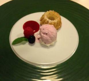 Limettengugelhupf an Erdbeermark mit Joghurteis Spa Hotel Zedern Klang
