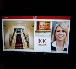 Statt Infomappe gibts Tablets im Zimmer K+K Palais Hotel