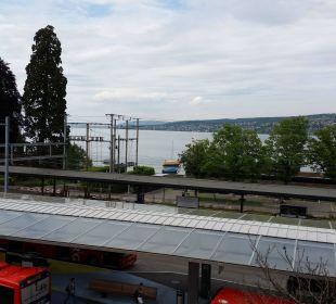 Blick auf Bahnhof vom Zimmer Hotel Meierhof
