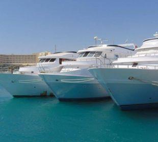 Blick vom kleinen Hafen zum Hotel (Hintergrund) Hotel Hilton Hurghada Plaza