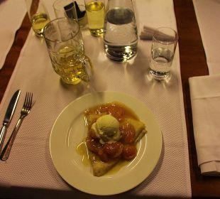 Crêpe als abendlicher Nachtisch in der Stüva Hotel Laudinella