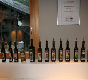 Riesiges Angebot an Ölen und Essig Gorfion - Das Familienhotel