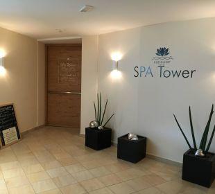 Eingang zum neuen Spa Tower Luxury DolceVita Resort Preidlhof