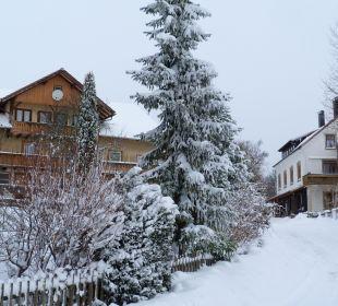Blick in die tief verschneite Lindenstrasse Haus Anny Schall