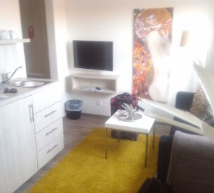 Wohnzimmer mit Kühlschrank, Spüle und Sofa Hotel Tide42