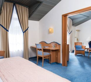 Suite Landseite Schlafraum Hotel Travel Charme Kurhaus Sellin