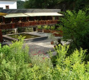 Blick auf die Terrasse Hotel Heidsmühle