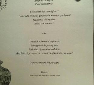 Menu na kolację Park Hotel Marinetta