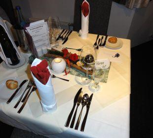 Tischdeko für das Galamenü Hotel Gabriela