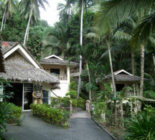 Blick zum Tauchshop und den Bungalows Hotel Sipalay Easy Diving and Beach Resort