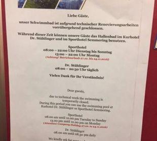 Hallenbad geschlossen Hotel Panhans