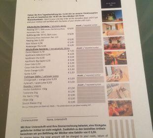 Zimmerpreisliste für Getränke und Snacks Hotel Dorint an der Messe Köln