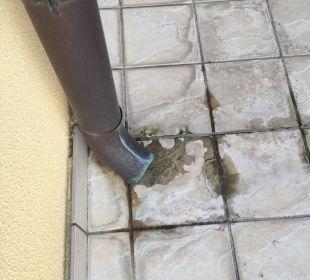 Bei Regen überflutet die Terrasse Hotel Cristina