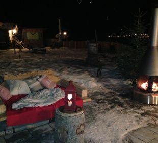 Terrasse im Winter am Abend Mair's Landgasthof