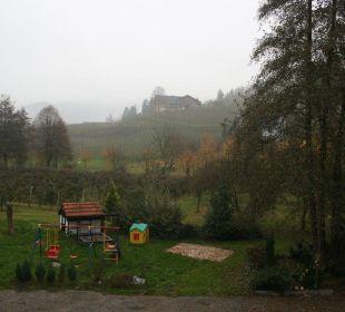 Blick vom Balkon im Nebel Faxe Schwarzwälder Hof Waldulm
