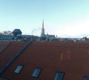 Вид из окна на башню собора Святого Стефана Pension Dr. Geissler