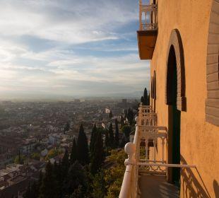 Blick vom Zimmer auf Granada Hotel Alhambra Palace