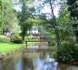 Blick über die Teichanlagen zum Hotel Hotel Heidsmühle