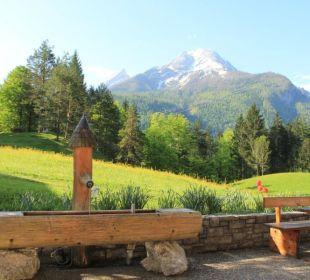 Die Terrasse mit Traumblick auf den Watzmann Pension Auf'm Feggenlehen