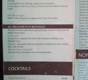 Geränkekarte / Cocktails nur bei AI Plus inklusive Hotel Royal Belvedere