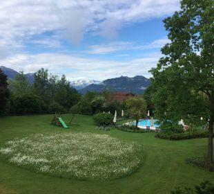 Blick in den Garten Hotel Alpenhof Murnau