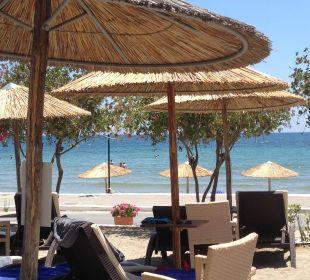 Blick auf den Strand von unserer Sonnenliege Hotel Corissia Beach