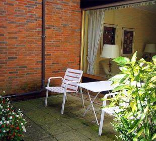 Terrasse des Doppelzimmers Hotel Haus Litzbrück