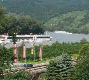 Blick vom Zimmer auf die Donau Gartenhotel Pfeffel