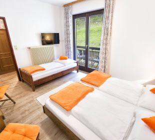 Doppelzimmer mit Zustellbett und Gartenblick BergPension Lausegger