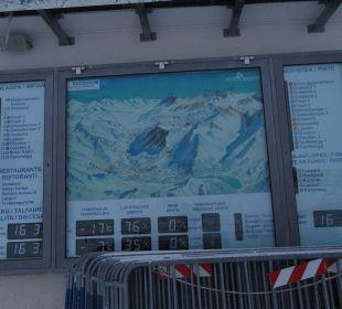 Skipistenplan, Temperatur etc. Glacier Hotel Grawand