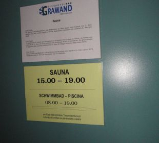 Öffnungszeiten Sauna Glacier Hotel Grawand