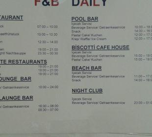 Öffnungszeiten Bars, Restaurants Hotel Alba Royal