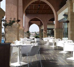 Terrasse vor dem Restaurant beim Frühstück Boutique 5 Hotel & Spa