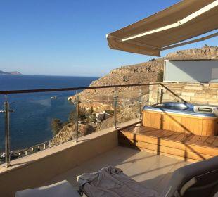 Der Balkon unseres Deluxe-Zimmers Hotel Lindos Blu