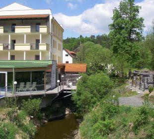 Ansicht vom Gartenbereich auf Hotel Wohlfühlhotel Liebnitzmühle