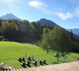 Blick vom Balkon Grünstein-Zimmer Alm- & Wellnesshotel Alpenhof