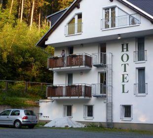 Blick vom Parkplatz Hotel Waldmühle