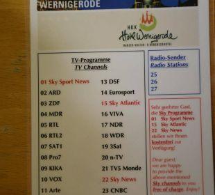 TV Senderliste HKK Hotel Wernigerode
