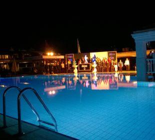 Nächtliche Poolanlage am Galaabend Club Aldiana Side (Vorgänger-Hotel – existiert nicht mehr)