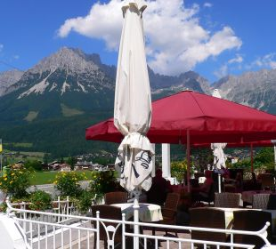 Terrasse mit Blick zum Wilden Kaiser Pension Bettina