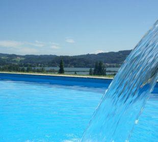 Swimming Pool mit Seeblick Hotel Walkner