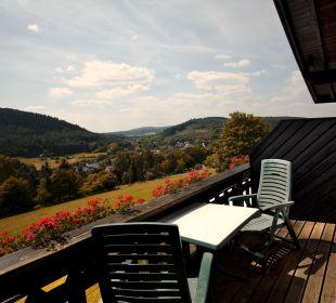 Blick Balkon Landhaus Müllenborn
