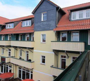 Blick von unserem Balkon auf das Hotelgebäude Apart Hotel Wernigerode