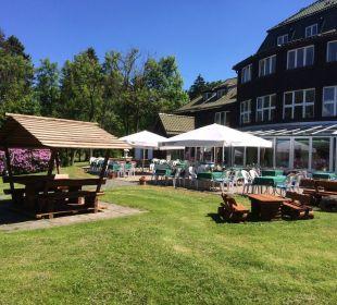 Blick auf Terrasse Hotel Harzhaus