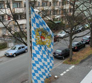 Kalter Dezemberwind, Hotelterrasse Hotel Kriemhild am Hirschgarten